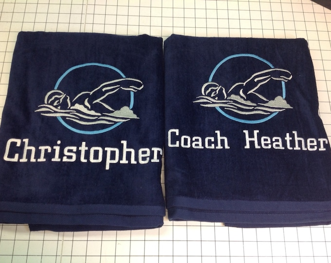 Personalized Swim team towels, Beach towel, bath towel, monogrammed towels, water polo, pool towel, bridesmaid gift, senior night gift,