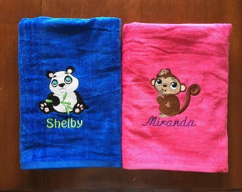 Kids Personalized BEACH TOWEL, Panda, beach day, summer camp, pool party, swim, vacation, high quality terry velour,