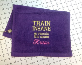 Personalized workout towel, sweat towel, exercise towel, sport towel, exercise gift, gym towel, 11 x 16 or 16x26