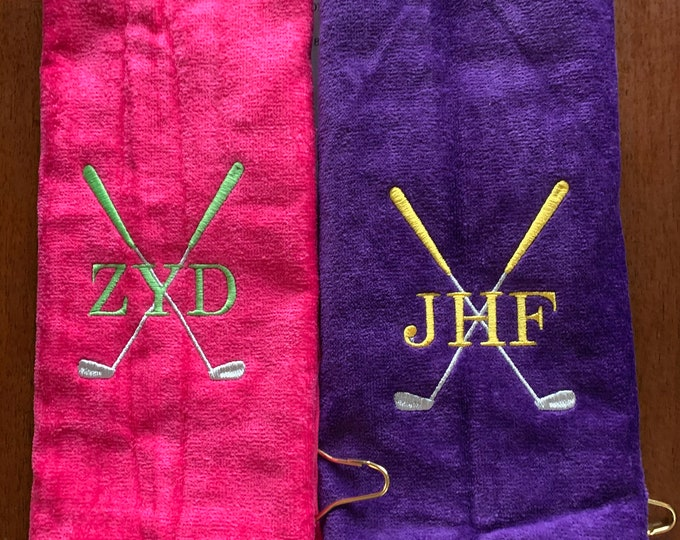 Personalized Golf towel | golf gift | very Fast turn around | Golf Accessories | monogrammed golf towel | Embroidered golf towel | one name,