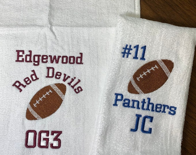 Personalized Football towels, embroidered football towel,