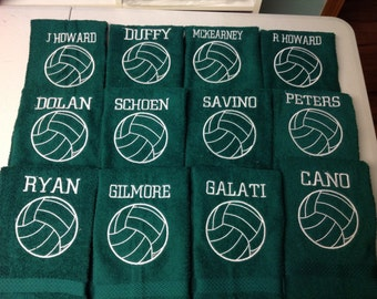 Green Personalized sport  towel, great sport gift, team towels, green terry towels. 16 x 26