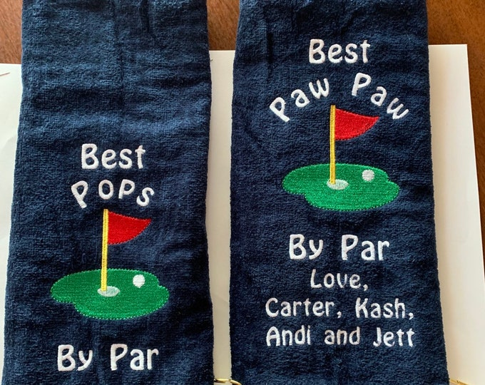 Custom Personalized golf towel | Golf towel | embroidered free | Tri fold or corner grommet