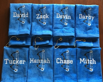 Archery, Personalized towel, personalized gift, embroidered,