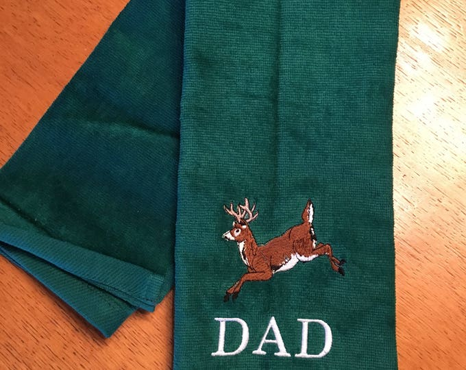 Camping, hunting, Camping towel, Fishing, Fishing towel, personalized towel, embroidered towels, deer, fishing, kitchen towel, Father's Day