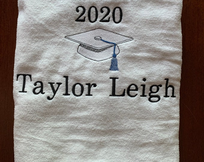 Graduation beach towel, personalized, custom made to order, www.lindakayscreations.etsy.com