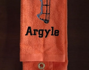 Archery towel with custom personalized embroidery, great for wiping the exra chalk off