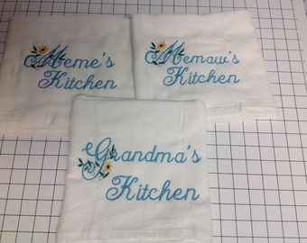 Personalized Kitchen towel, personalized, flour sack towel, grandma's kitchen, kitchen decor, embroidered towels