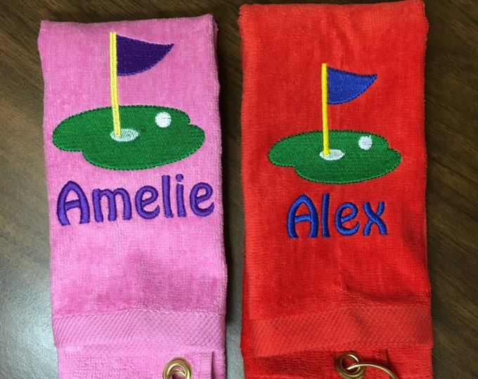 Personalized golf towel with custom embroidery, 11 x 16 or 16 x 26