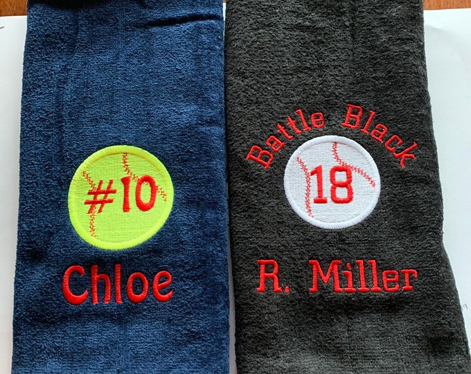 custom embroidered basketball team towels, 11 x 17 or 16 x 27 towel sizes