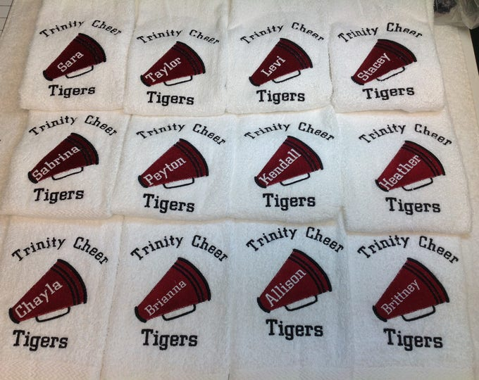 Custom Cheer Towel with personalized Embroidery. 2 size choices, fast turnaround