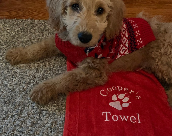 Embroidered dog towels by Linda Kay's Creations
