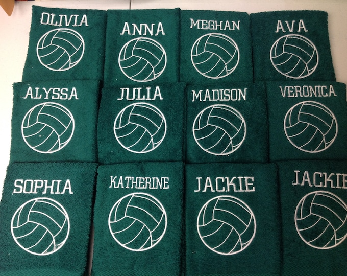 Volleyball Towel with fast turn around, Personalized, Custom Embroidery, volleyball gift, sport towels, teen gift, girl gift, gift for her,
