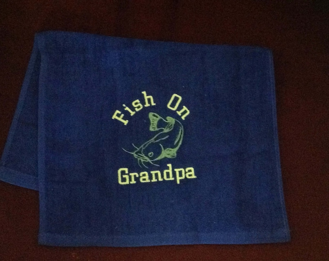 Fishing, fishing towel, bass fishing, fishing gift, personalized fishing, personalized towel, custom fishing towel, monogrammed, Father's Da