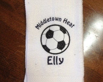 Personalized soccer towel, embroidered, message for team orders