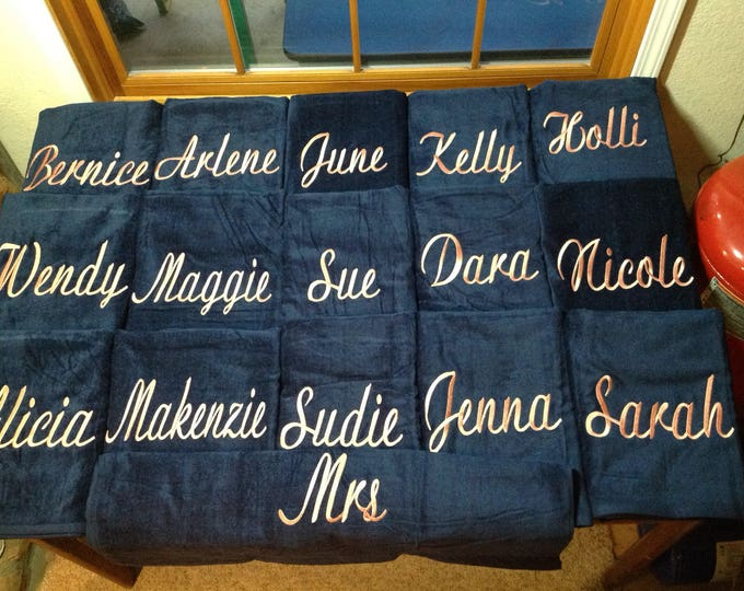 Custom Designed Vacation Towels with custom personalized Embroidery, 30 x 60 terry velour