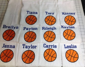Personalized Text basketball towel Embroidered By Linda Kay's Creations