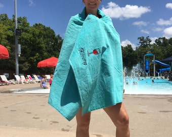 Adult Beach Towels, 35 x 70, Custom Personalized beach towel, pool towel, monogrammed, terry velour, wine beach towel, wedding party favors,