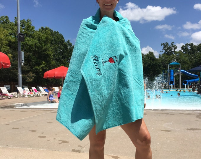 Adult Beach Towels, Custom Personalized beach towel, pool towel, monogrammed, terry velour, wine beach towel, wedding party favors,