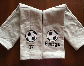 Soccer Towels With Custom Personalized Embroidery, Soccer Team Gift, Soccer Coach Gift, Soccer Towel, FAST TURN AROUND,