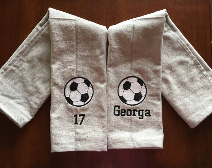 Personalized Soccer Towels, Custom Embroidery, Soccer Team Gift, Soccer Coach Gift, Soccer Towel, FAST TURN AROUND,