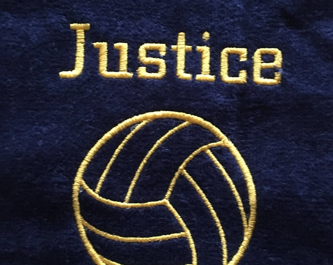 Personalized Embroidered Volleyball towel, fast turnaround,