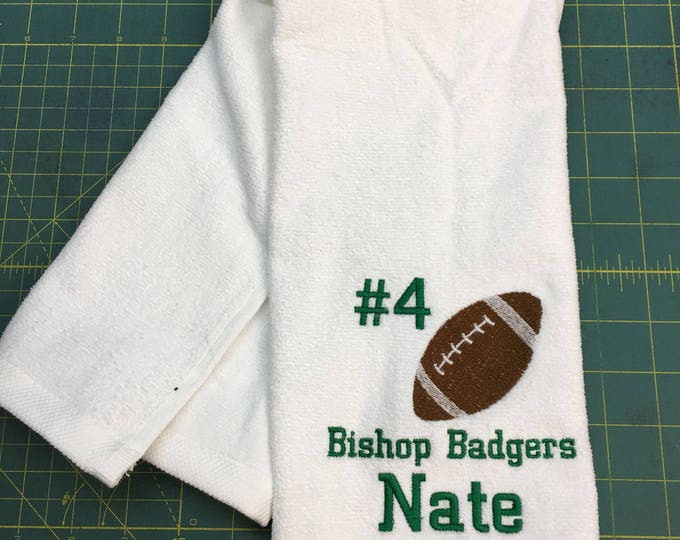 Football, personalized, football towel, sport towel, boys, boy gift, man cave, fast turn around, embroidered Towel,