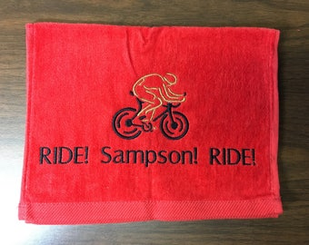 Bike towel, embroidered, personalized towel, monogrammed, cyciling, embroidered towel, personalized gift, cyciling towel