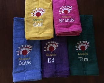Personalized bowling towel, 16 x 27 or 11 x 16
