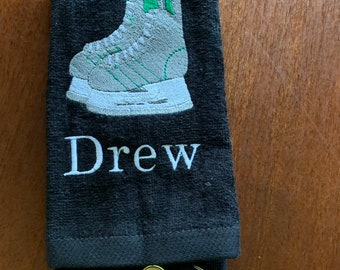 Boys personalized ice skating towel great for drying skates