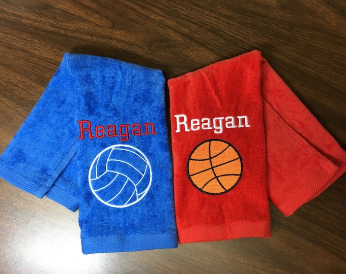 Custom Personalized sport towel , team discount,  basketball, volleyball, baseball, softball, track, archery, soccer, tennis, golf, cheer,