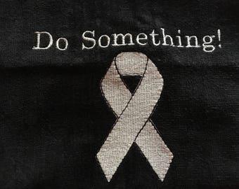 Awareness Ribbon, personalized towels, custom personalized embroidery,  awareness ribbon, fundraiser towels, golf, fitness, team towels,