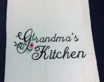 Kitchen towel, Personalized, Dish Towel, Nanas kitchen, grandma's kitchen, or any name, tea towel, kitchen decor,