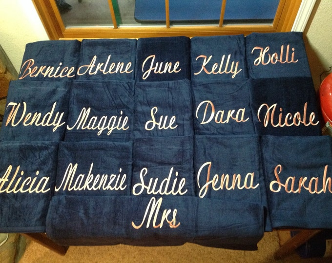 Personalized Beach Towel with Custom Embroidery, terry velour, 32 x 60, personalized teacher gifts