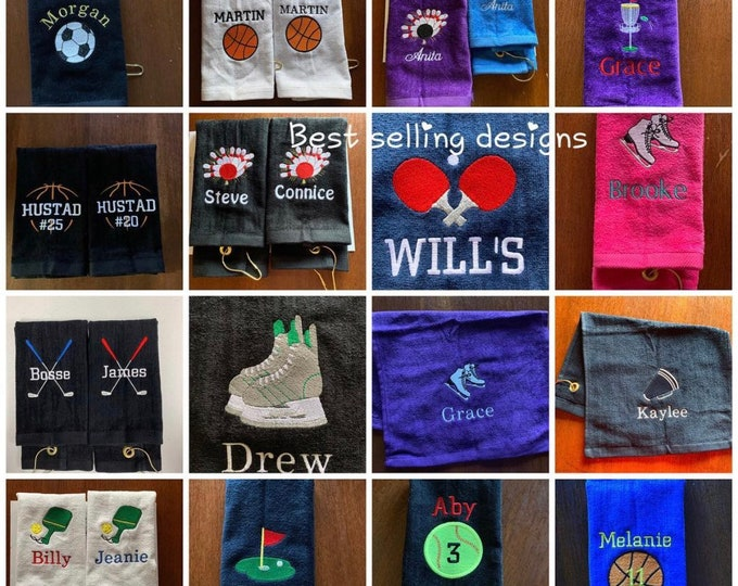 Personalized embroidered 11 x 18 sport towel with or without grommet and hook, any color embroidery included, any design in my shop