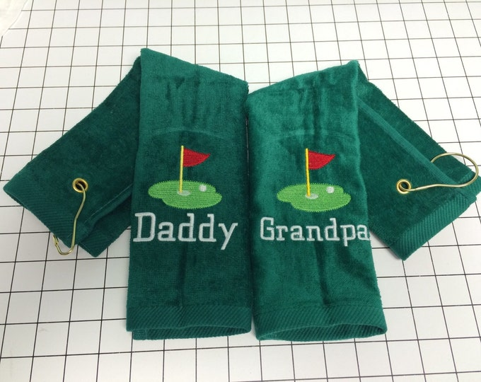 Personalized Golf Towels by Linda Kay's Creations, 11 x 17 or 16 x 26 with corner hook