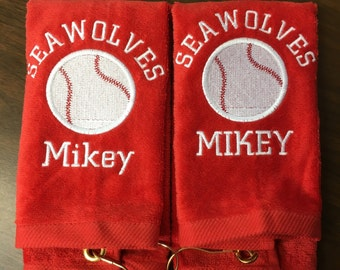 Personalized baseball, softball or tennis towel, pin towels, custom embroidery, school sports, team gift, coach gift, pin towels,