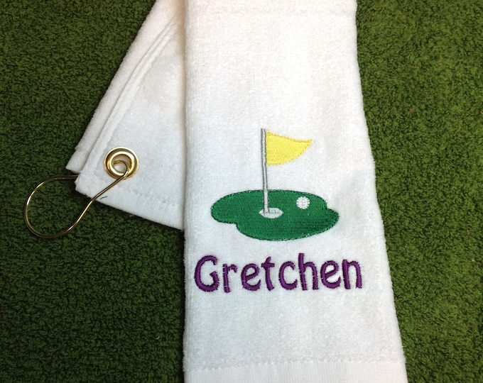 Personalized Golf towel, golf, monogram golf towel, golf party, golf gift, embroidered golf towel, custom golf towel, 11 x 17 or 16 x 26