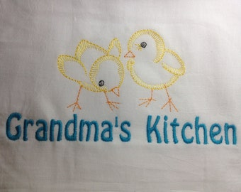 Dish towel, kitchen towel, farmhouse decor, dish towel, flour sack towel, personalized towel, Mothers Day, embroidered towel, grandma gift
