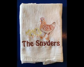Personalized Flour Sack Towels, Farmhouse Decor, Flour Sack towel, Tea towel, Kitchen towel, Chicken Decor, Valentines Day, Hostess Gift,