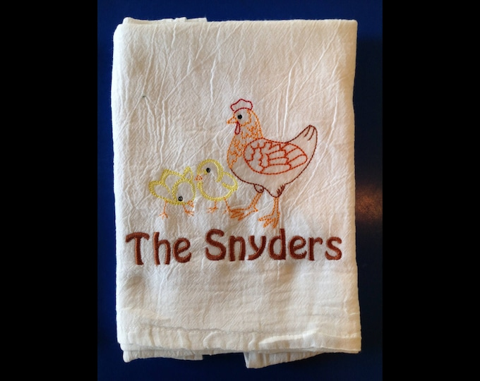 Personalized Flour Sack Towels, Farmhouse Decor, Flour Sack towel, Tea towel, Kitchen towel, Chicken Decor, Valentines Day, Hostess Gift,