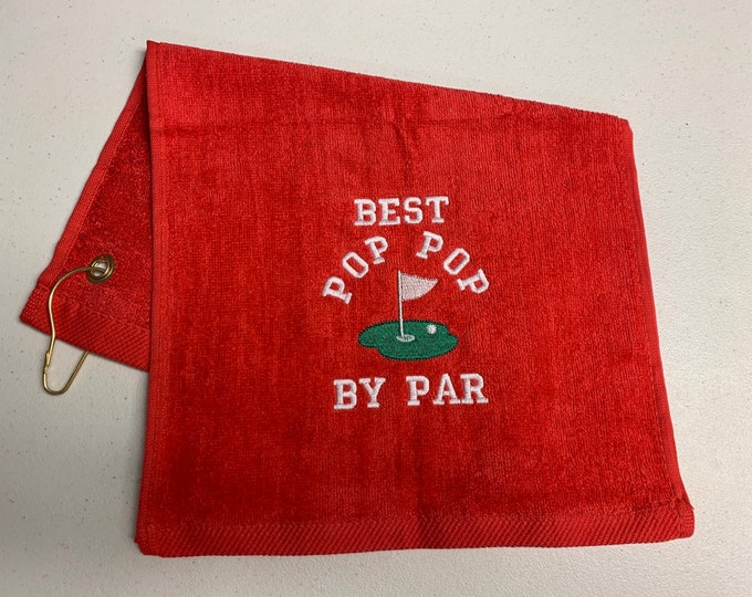 Golf towel, ready to ship, Best Pop Pop golf towel, as is, I used the wrong colors so I had to remake it, navy blue 11 x 17, red towel