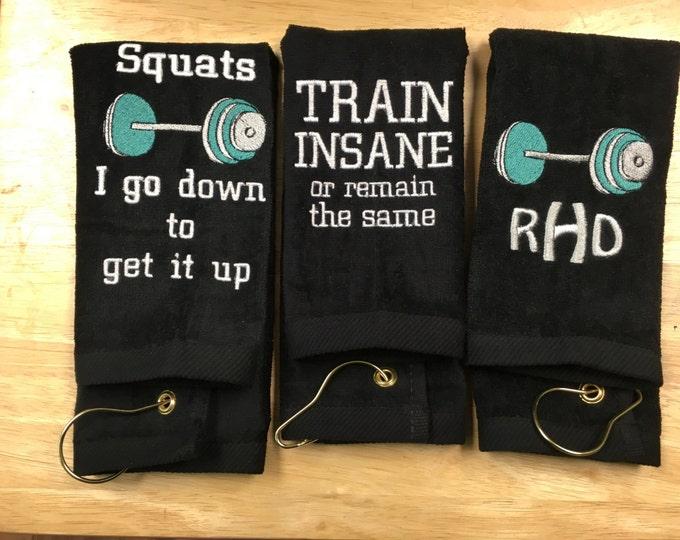 Fitness gym towel, Custom personalized embroidered fitness towel, gym towel, Made to order towel. One towel