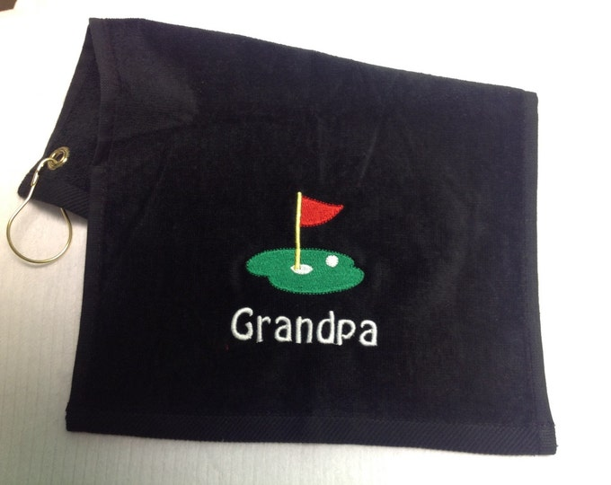 Black golf towel, Personalized golf towel, golf, monogrammed golf towel, embroidered golf towel, golf birthday, golf gift, golf accessorys,