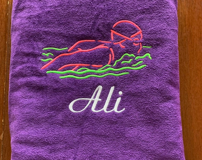 Personalized Swim team towels with personalized embroidery included. 30 x 60