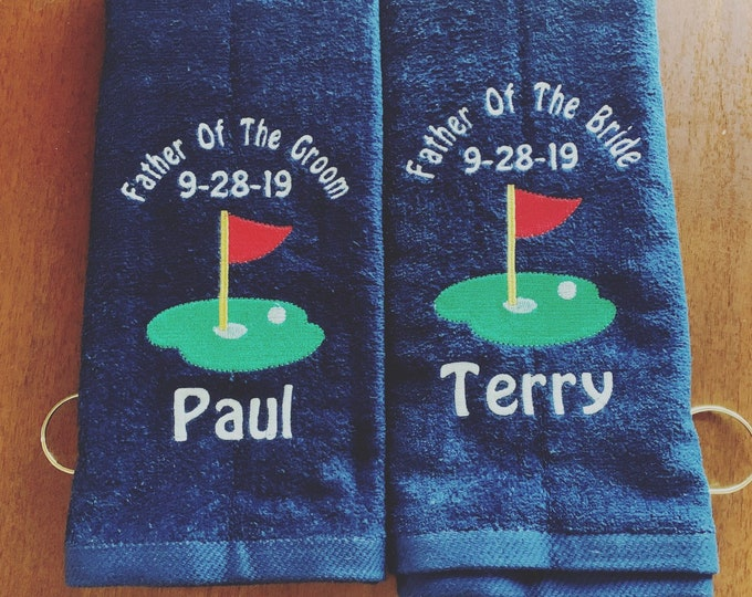 Personalized Golf towel, Father of the Bride, wedding party, personalized, Father of the Groom, wedding party gifts