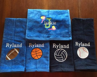 Personalized sport towels, with embroidery or blank, track and field, ice skating, basketball, volleyball, golf, bowling, baseball, soccer,