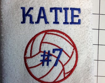 Personalized volleyball towel, sport towel, monogram towel, volleyball, volleyball team towels, volleyball gift, name and number, 16x26