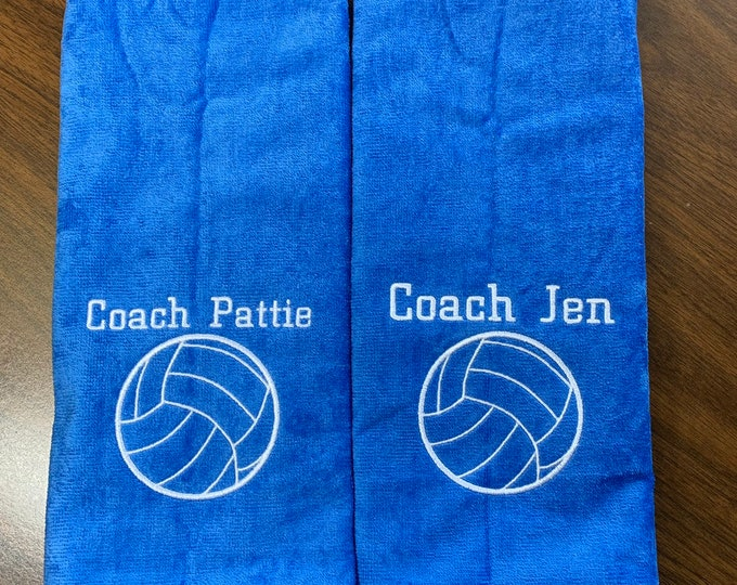 Personalized volleyball towel, Embroidered by Linda Kay's Creations