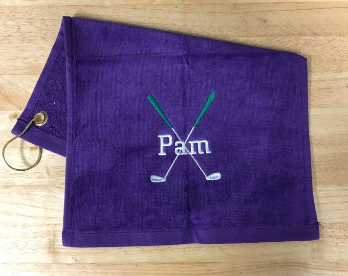 Personalized golf towel with custom embroidery included in the price, golf green or cross clubs design, fast  turn around